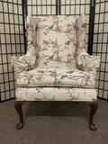 William Allen Inc. wingback armchair w/floral & bird upholstery. Some wear, see pics