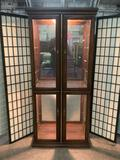 Dark wood lighted curio cabinet, tested & working,