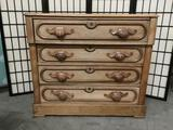 Antique 4 drawer fruit carved handle dresser with nice detail and wood grain