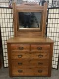 Antique turn of the century 5 drawer dresser w/carved vanity mirror & casters - great cond