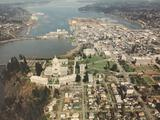 1993 large framed Aerial Photo Labs. print of Olympia, WA. from high above. Approx 36x30 inches.