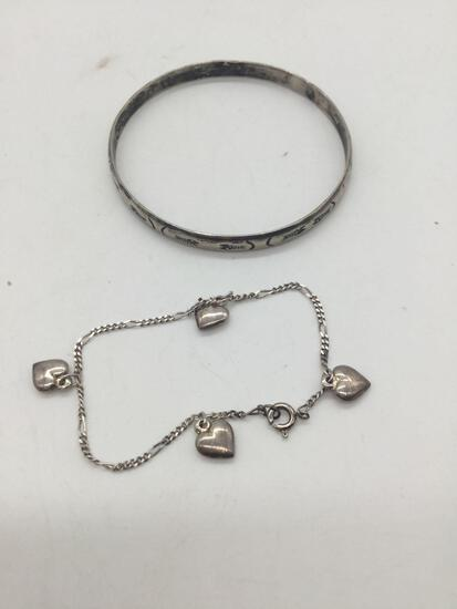 Sterling silver charm bracelet and bangle.