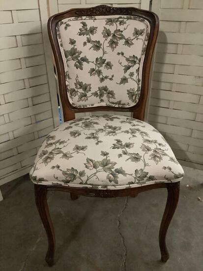 Harris Marcus Furniture chair with leaf design upholstery approx 20 x 22 x 36 inches.