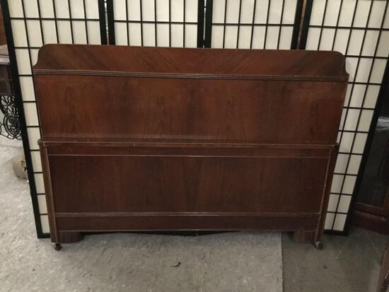 Vintage wooden full sized bed frame. No rails.