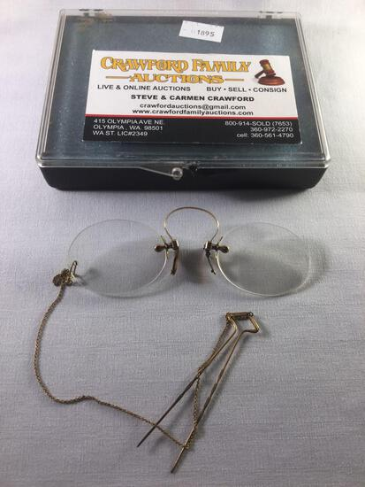 Antique Stevenson and Co gold plated spectacles / eye glasses approx 4x1 inches