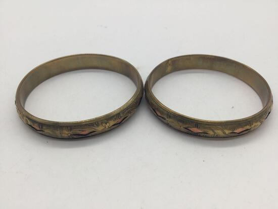 Pair of antique brass and copper bracelets