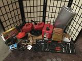 Collection of auto stuff, gas cans, muffler, tools and more!