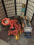 Large lot of extension cords, hoses, hardware, storage and more.