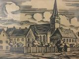 Vintage framed block print of church & town, signed & numbered by artist Q. Thomas (?).