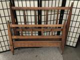 Vintage wooden twin sized bed frame. No rails.