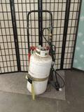 Torch with propane tank and hand truck. approx 46x22x15 inches.
