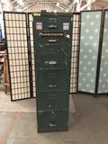 Vintage Seattle US Navy filing cabinet. One broken handle. approx 64x24x18 inches.
