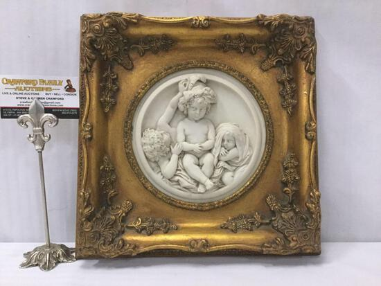 Antique gilt framed cherub relief marble art. Enrico Braga cherub plaque w/ Perfugium Regibus coin