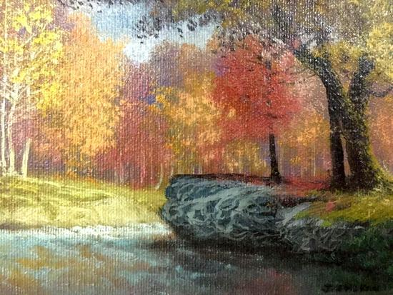 Vintage framed nature scene painting in Fall colors, signed by unidentified artist approx 13x11x2 in