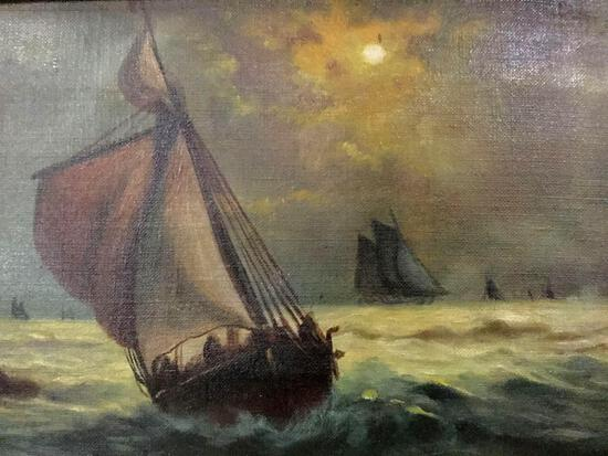 Framed vintage original oil painting of ships at sea, signed by artist I. Jameson approx 21x13x3 in.