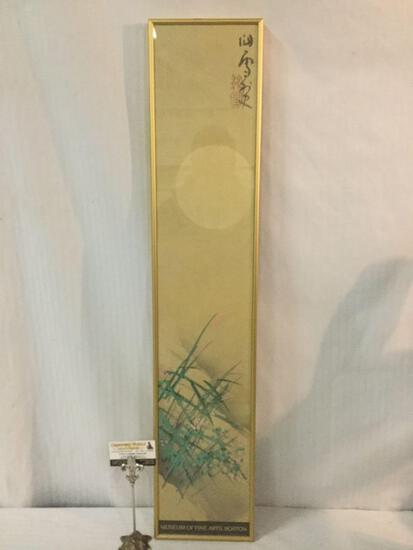 1996 framed print Grasses and Moon by Hashimoto Kansetsu - Musuem of Fine Arts Boston 8x39.5x1 in.