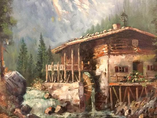 Vintage framed original oil painting of a mill in the mountains, signed by artist Sarah Lammi (?)