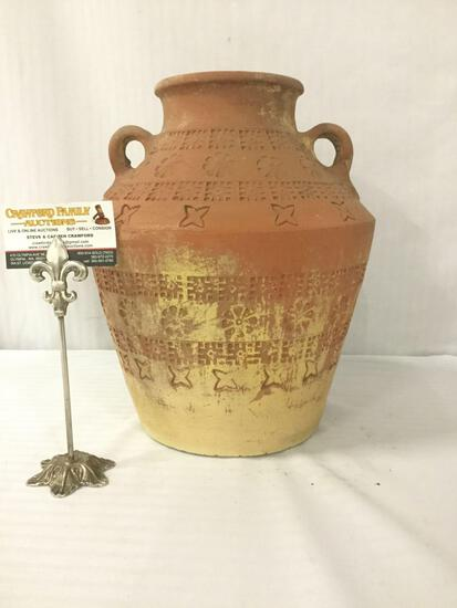 Vintage ceramic 2-handled vase w/star & floral incised designs, some wear, approx 11x11x13 inches