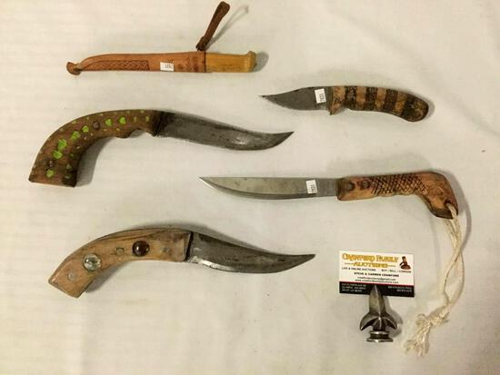 5 vintage knives: J. marttiie fillet knife w/sheath, 2x curved blade knives +more largest 13x3x1 in.
