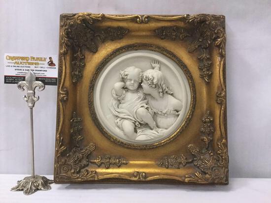 Antique gilt framed cherub relief marble art. Enrico Braga cherub plaque w/ Perfugium Regibus coin