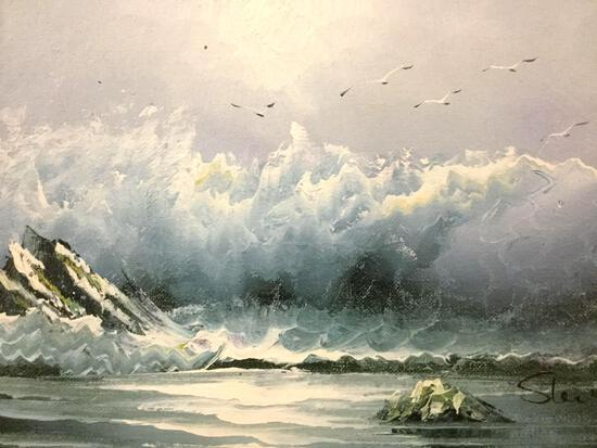 Vintage framed original oil painting of crashing waves & seagulls, signed by artist Steve 17x15x2 in