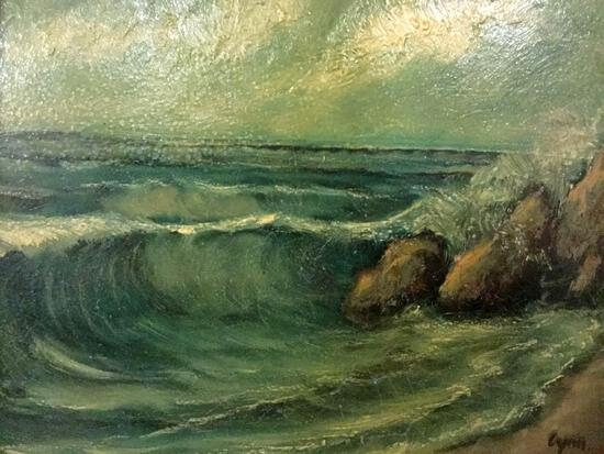 Vintage framed original oil painting of waves crashing on a beach, signed by artist Lyra (?)