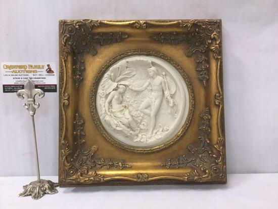 Antique 1848 gilt framed romantic relief marble art piece. Antique coin embedded on back.