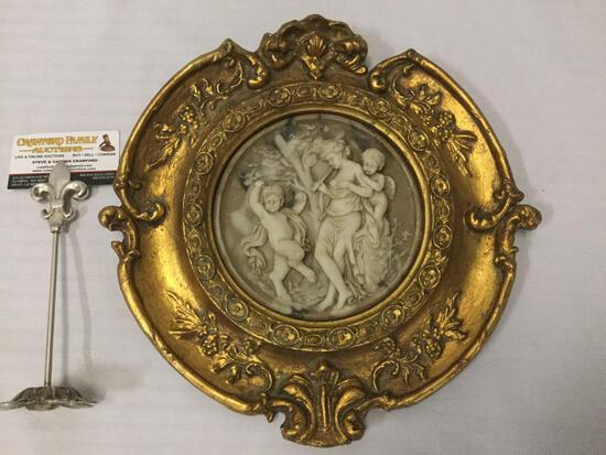 Antique gilt framed cherub relief marble art piece. Enrico Braga
