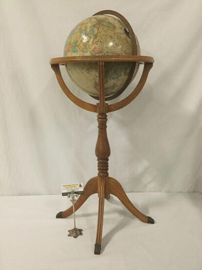 Vintage U.S. made Replogle Globes Inc. globe w/stand, from designs of cartographer LeRoy M. Tolman