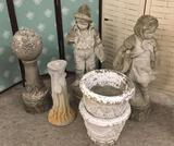 Collection of concrete yard art. Fishing boy, little girl, Garden Globe, tree stump and 2 planters.