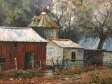 Vintage framed original oil painting of a farm scene. Unsigned/artist unknown. Approx 19x17x3 in.