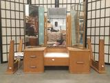 Small vintage 3-drawer 3-mirror child-size vanity, legs need attached, approx. 29x14x30 inches.