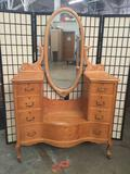 Vintage birds eye maple 7-drawer vanity/dressing table with mirror. Approx 72x47x19 inches.