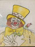 Original Red Skelton Prisma Color on Linen drawing - Yellow Clown With Rose - Signed & framed.