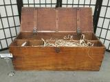 Vintage wooden tool chest/crate filled w/ copper wire & misc. items, approx. 34x12x11 inches.