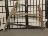 Antique wood & metal saw, some wear, see pics, approx. 33x26x1.5 inches.