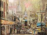 Framed original impressionist oil painting of a city street scene, signed by artist J. Hinii (?)