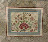 Vintage framed tapestry fabric art piece with floral pattern. Approx 20x18 inches.