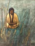 Original 1975 framed painting of Native American woman by Darlene Benson. approx 16x15 inches.
