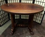 Vintage wood claw foot hall table. The top shows wear, see pics. Approx 40x29x26 inches.