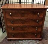 Vintage 3-drawer dresser w/ burled front. Approx 44x41x21 inches.