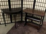 2 Vintage tables: fold out coffee table/ Hall table approx 28x26x14 inches.