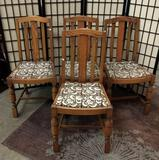 Set of 4 vintage floral upholstered dining chairs. Approx 36x16x14 inches.