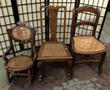 Lot of 3 vintage rattan wooden chairs. Largest approx 32x27x16 inches