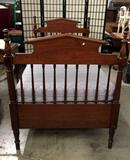 Vintage wood twin bed frame with mattress. Approx 77x49x39 inches