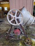 electric cement mixer on wheels, aprox 46x36x48 inches. Untested. Sold as is - where it sits.