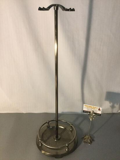 Chrome fireplace utensil stand, approx 27 x 8 inches