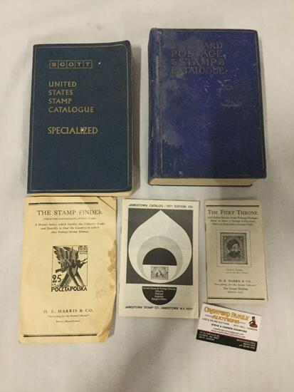 Collection of 5 vintage stamp related books and pamphlets.