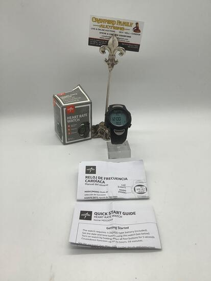 Medline Heart Rate Watch 30m w/box & manual. Tested & working. Approx. 2.75x2.75x3.5 inches.