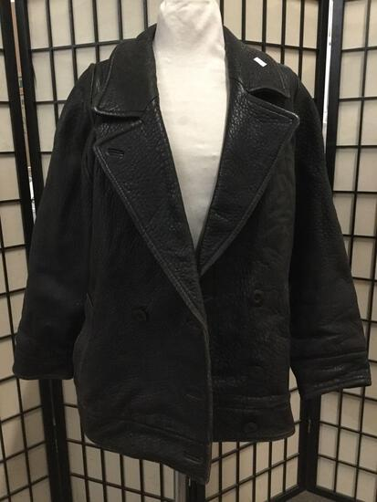 J and R leather jacket made in Korea approx size Large 28 x 20 inches.